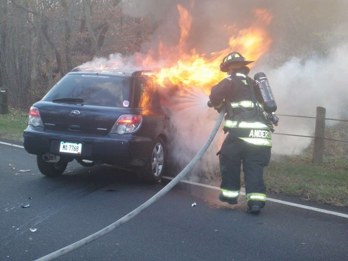Car fire on the Merritt Parkway Wednesday morning