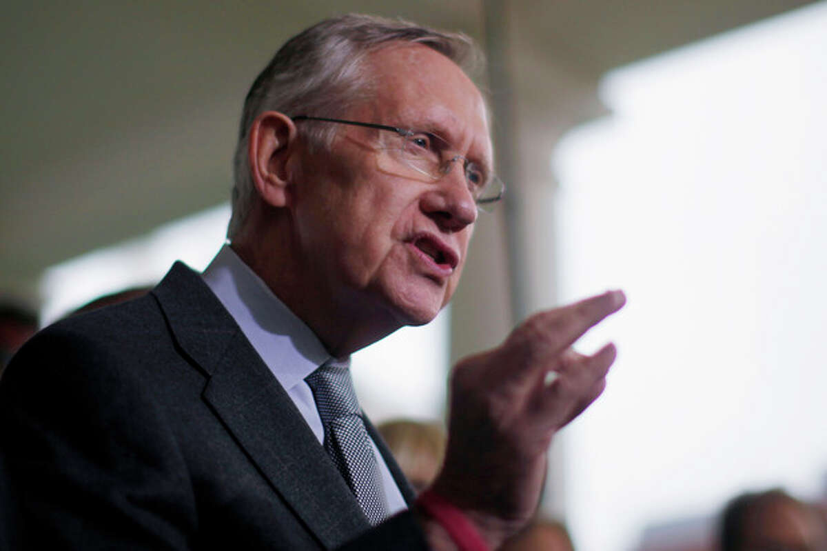 Senate Majority Leader Harry Reid of Nev. speaks to reporters outside the White House in Washington, Thursday, Oct. 10,2013, following meeting with President Barack Obama regarding the government shutdown and debt ceiling. (AP Photo/Charles Dharapak)