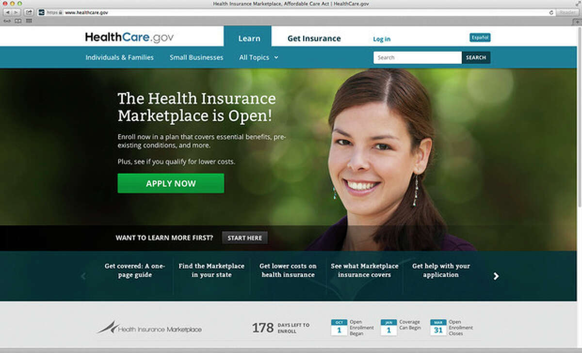 This photo provided by HHS shows the main landing web page for HealthCare.gov. The government's new health insurance marketplaces are drawing lots of rotten tomatoes in early reviews. But people are at least checking the things out. According to an AP-GfK poll, 7 percent of Americans report that somebody in their household has tried to sign up for insurance through the health care exchanges. While that?'s a small percentage, it could represent more than 20 million people. (AP Photo/HHS)