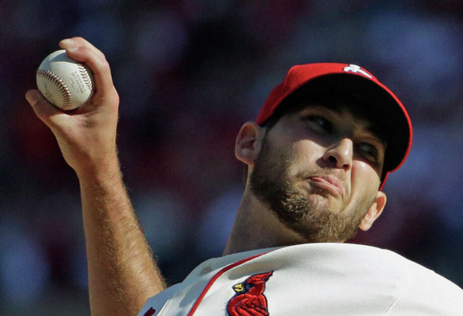 St. Louis Cardinals' Michael Wacha throws during the first inning of Game 2 of the National League baseball championship series against the Los Angeles Dodgers Saturday, Oct. 12, 2013, in St. Louis. (AP Photo/David J. Phillip) / AP