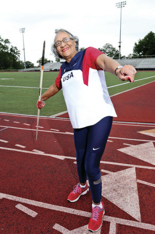 Hour photo / Erik Trautmann Norwalk's Mary Roman will be representing the U.S.A. while competing in the shot put, hammer throw, weight throw, javelin and 4x100 relay at the World Masters Championships in Brazil next week.