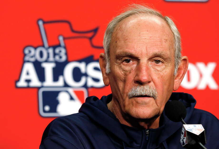 Detroit Tigers manager Jim Leyland speaks during a media availability at Comerica Park before practice for Game 3 of the American League baseball championship series against the Boston Red Sox in Detroit, Monday, Oct. 14, 2013. (AP Photo/Paul Sancya) / AP
