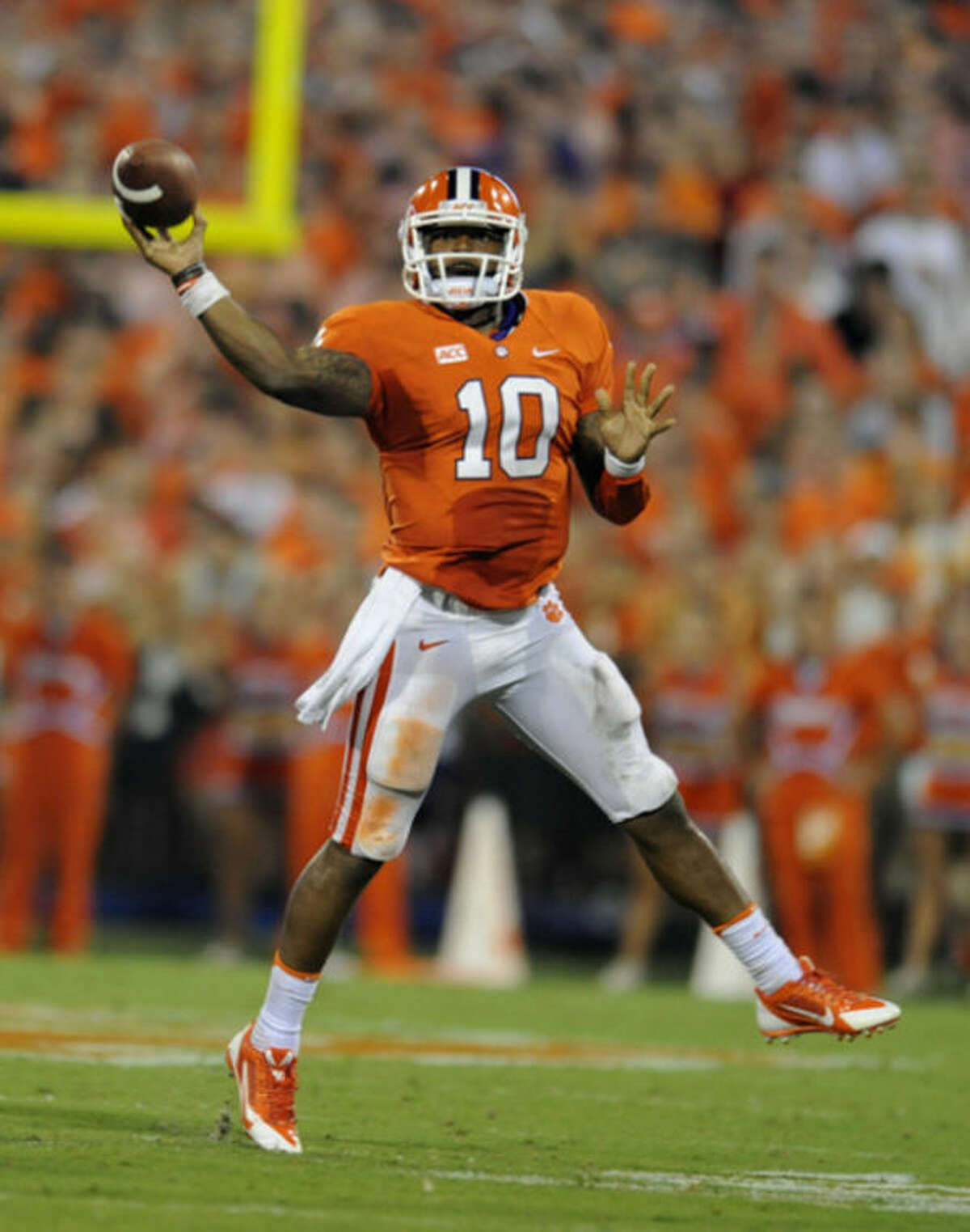 File-This Aug. 31, 2013 file photo shows Clemson quarterback Tajh Boyd throwing a pass during the first half of an NCAA college football game against Georgia at Memorial Stadium in Clemson, S.C. There's not an enormous difference between Jameis Winston of Florida State and Boyd. At least not to a couple of former NFL executives. Sam Wyche, former Cincinnati Bengals and Tampa Bay Buccaneers coach, says Boyd, a senior, has the desired combination of fundamentals and veteran leadership qualities. (AP Photo/Richard Shiro, File)