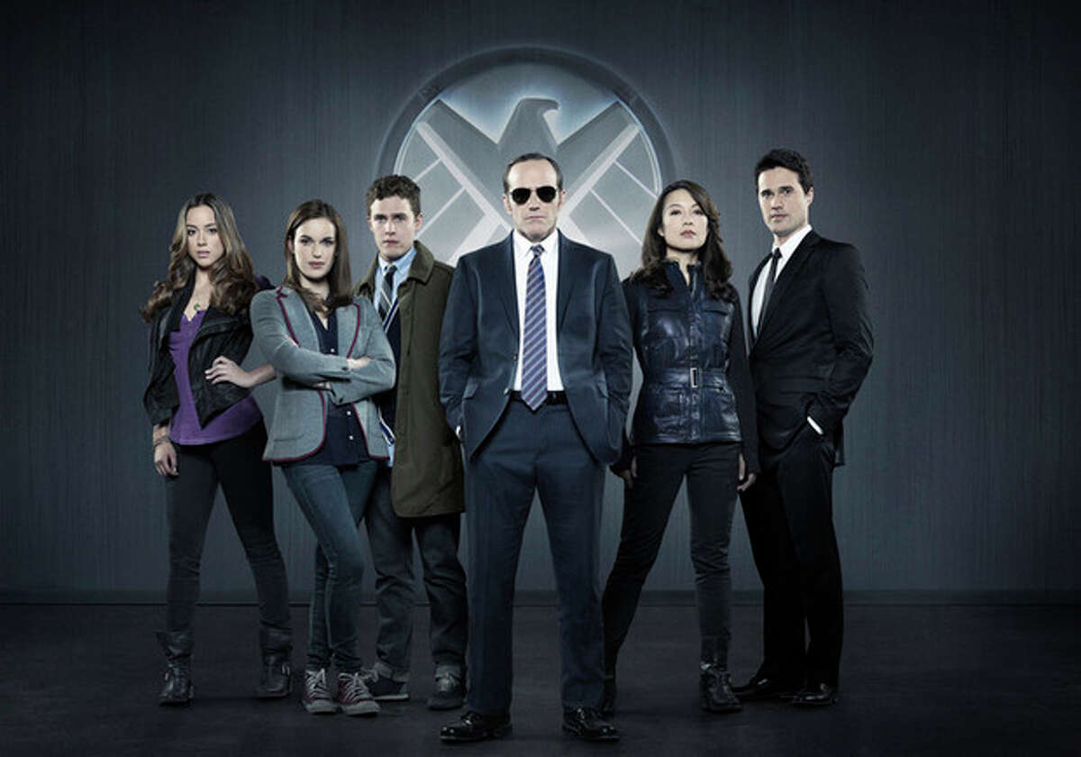 """This photo released by ABC shows from left, Chloe Bennet, Elizabeth Henstridge, Iain De Caestecker, Clark Gregg, Ming-Na Wen, and Brett Dalton in Marvel's """"Agents of S.H.I.E.L.D,"""" produced by ABC Studios and Marvel Television. Gregg as Agent Phil Coulson has broken out as the star of """"Marvel's Agents of S.H.I.E.L.D.,"""" the new ABC sci-fi thriller (airing Tuesdays at 8 p.m. EDT), which finds Coulson leading a hand-picked band of agents on their extra-special missions. (AP Photo/ABC, Bob D'Amico)"""