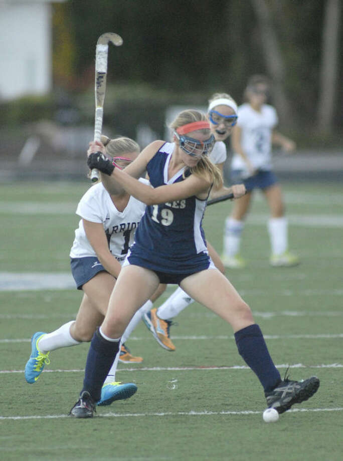 Hour photo/John Nash - Elizabeth Bennewitz of the Staples High field hockey team played Wilton earlier this week.