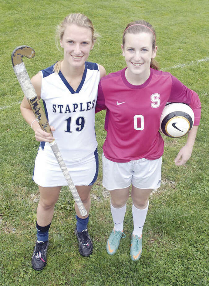 Hour photo/John NashStaples High School juniors Elizabeth, left, and Mary Bennewitz are twins who have succeeded in different sports for the Wreckers.