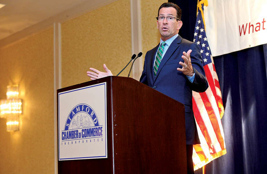Gov. Dannel P. Malloy speaks to the Stamford Chamber of Commerce during their luncheon at the Stamford Marriott Hotel & Spa Thursday.