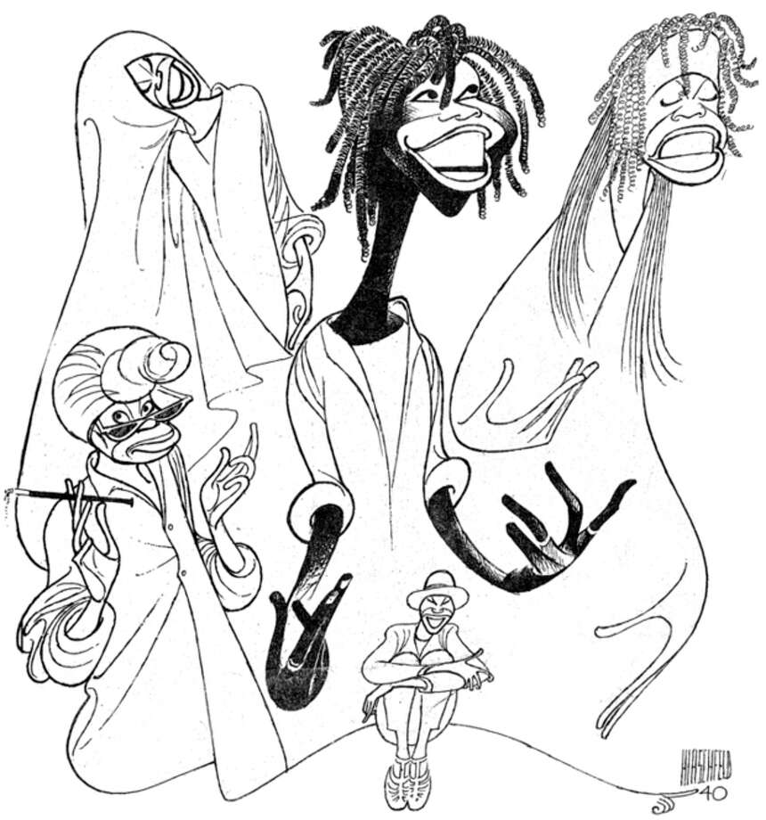 """AP Photo/New York Public Library, Al HirschfeldThis undated image provided by the New York Public Library shows a drawing of Whoopi Goldberg by caricaturist Al Hirschfeld, for a poster of her 1984 one-woman Broadway show. It is part of a new exhibition on Hirschfeld, """"The Line King's Library"""" which opens at The New York Public Library for the Performing Arts at Lincoln Center on Thursday. / New York Public Library"""