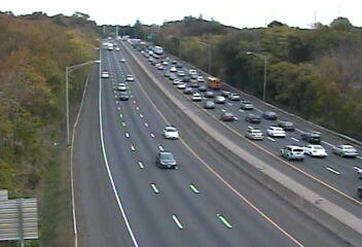 Traffic backed up on I-95 North in Westport