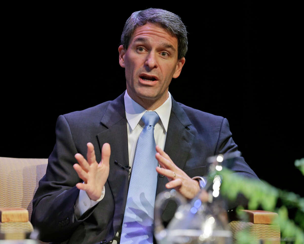 """FILE In this Oct. 10, 2013 file photo, Republican gubernatorial candidate, Virginia Attorney General Ken Cuccinelli, speaks during a gubernatorial forum at the University of Richmond in Richmond, Va. In the Virginia governor?'s race, the perennial hot-button issue of abortion keeps creeping into the dialogue. Cuccinelli opposes abortion except when the mother?'s life is in danger, a position McAuliffe called ?""""very extreme?"""" because it would not allow abortion in cases of rape, incest or to protect the mother?'s health. (AP Photo/Steve Helber)"""