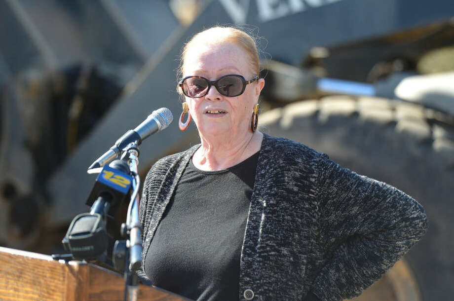 Hour Photo/Alex von Kleydorff Executive Director Freda Welsh speaks during the Groundbreaking at The Levitt Pavillion for the Performing Arts in Westport on Monday.