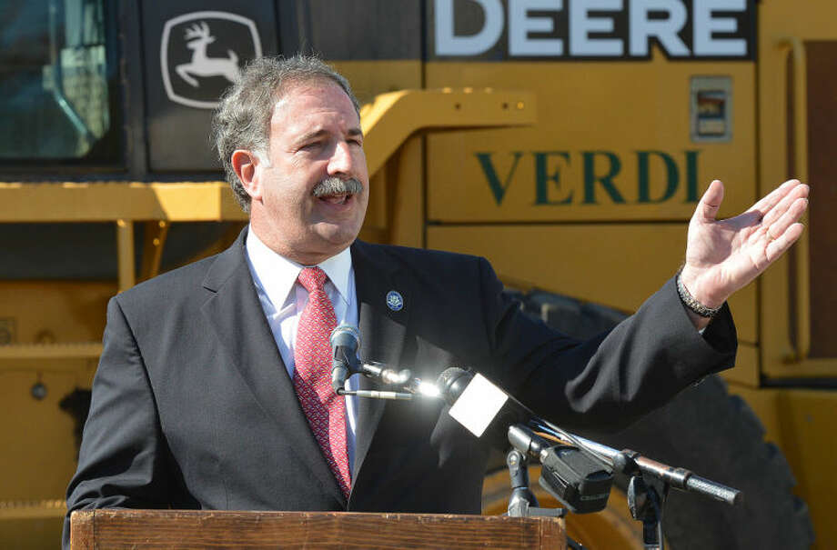 Hour Photo/Alex von Kleydorff State Rep Jonathan Steinberg speaks during the Groundbreaking at The Levitt Pavilion for the Performing Arts in Westport on Monday.