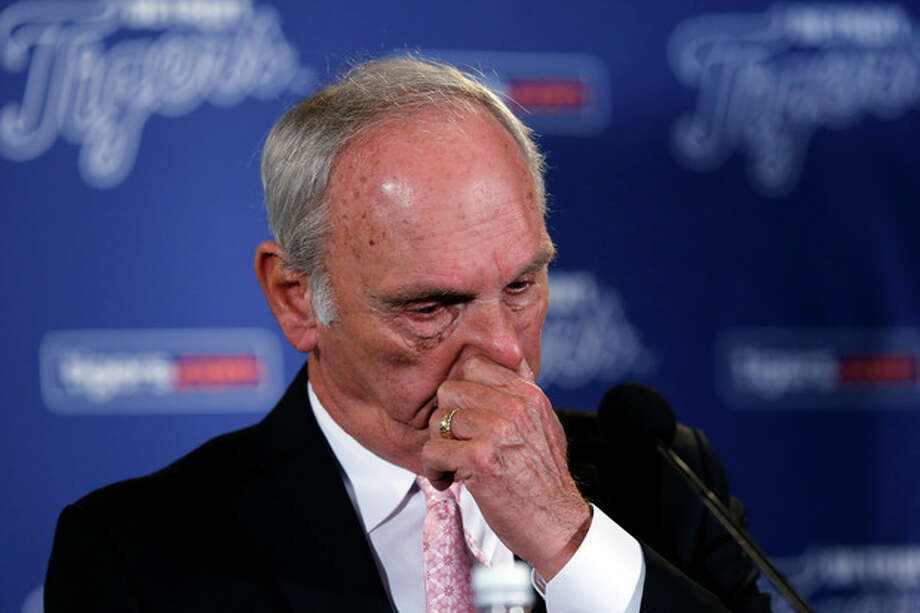 Detroit Tigers baseball manager Jim Leyland announces his retirement during a news conference at Comerica Park in Detroit, Monday, Oct. 21, 2013. (AP Photo/Paul Sancya) / AP