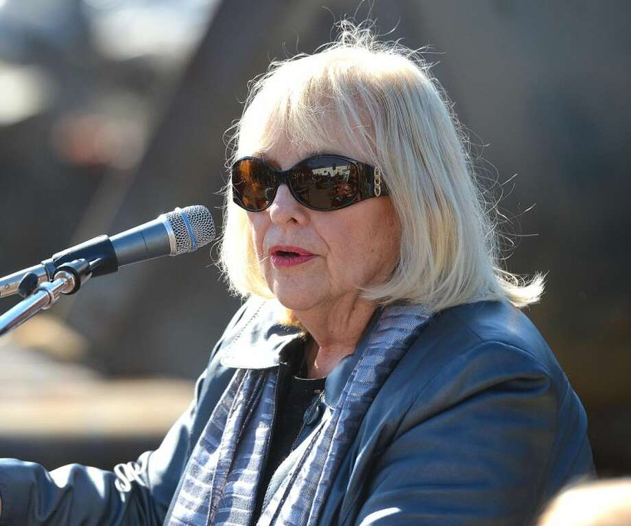 Hour Photo/Alex von Kleydorff Friends of the Levitt pavilion Board Chair Janet Plotkin speaks during the Groundbreaking at The Levitt Pavilion for the Performing Arts in Westport on Monday.