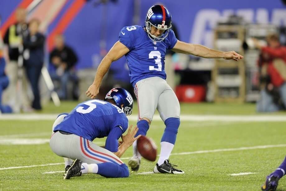 New York Giants kicker Josh Brown (3) kicks a field goal during the second half of an NFL football game against the Minnesota Vikings Monday, Oct. 21, 2013 in East Rutherford, N.J. (AP Photo/Bill Kostroun) / FR51951 AP
