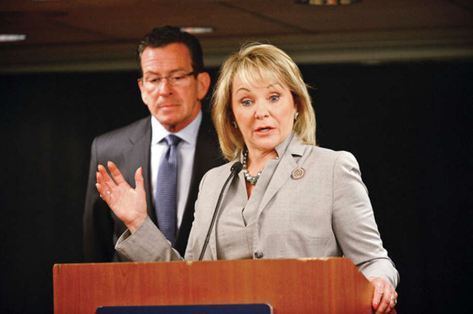Hour photo / Erik TrautmannConnecticut Gov. Dannel Malloy and Gov. Mary Fallin of Oklahoma hold a news conference at the National Governors Association meeting Tuesday at the Stamford Marriott. / (C)2013, The Hour Newspapers, all rights reserved