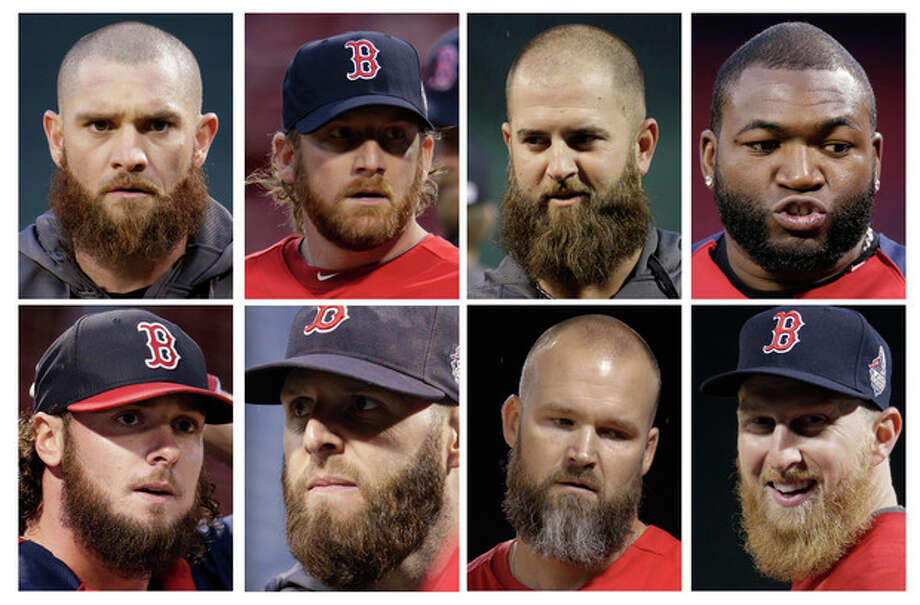 In this combo of photos, Boston Red Sox players, top row from left, Jonny Gomes, Ryan Dempster, Mike Napoli and David Ortiz, and bottom row from left, Jarrod Saltalamacchia, Dustin Pedroia, David Ross and Mike Carp sports beards during a workout at Fenway Park Tuesday, Oct. 22, 2013, in Boston. The Red Sox are scheduled to host the St. Louis Cardinals in Game 1 of baseball's World Series on Wednesday. (AP Photo/Charlie Riedel) / AP
