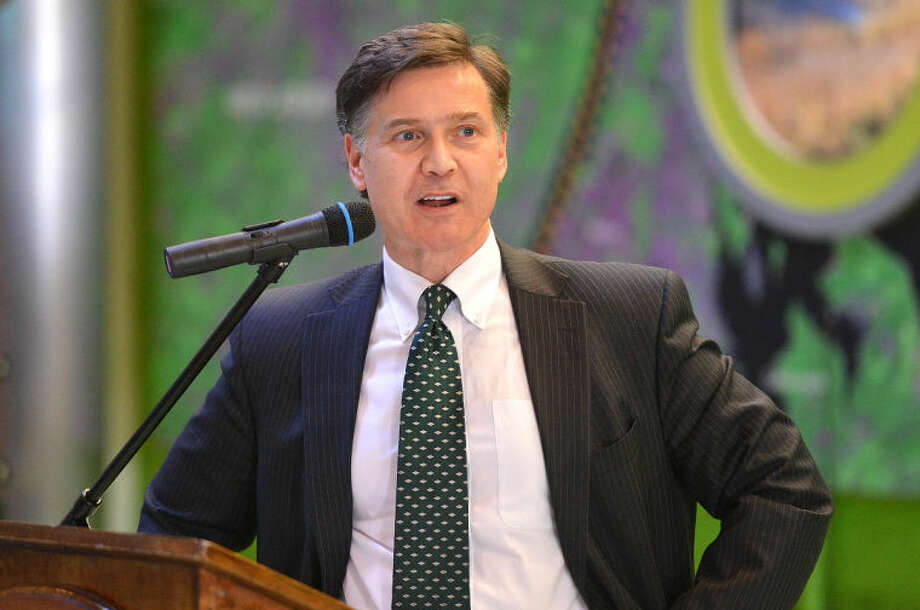 Hour Photo/Alex von Kleydorff Daniel C. Esty, Commissioner, Connecticut Department of Energy and Environmental Protection speaks during the Grant Award announcement at The Maritime Aquarium for funds to improve the health of Long Island Sound. The projects will be funded through the Long Island Sound Futures Fund.