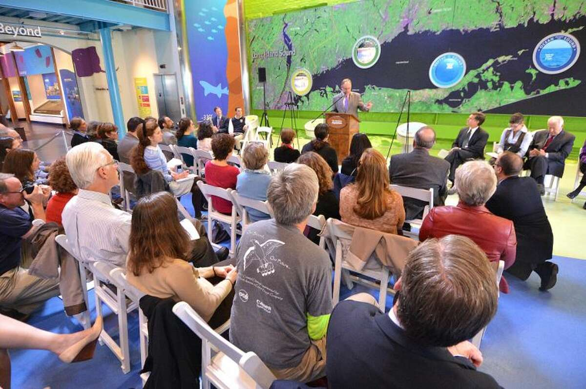 Hour Photo/Alex von Kleydorff Grant Award announcement at The Maritime Aquarium for funds to improve the health of Long Island Sound. The projects will be funded through the Long Island Sound Futures Fund.