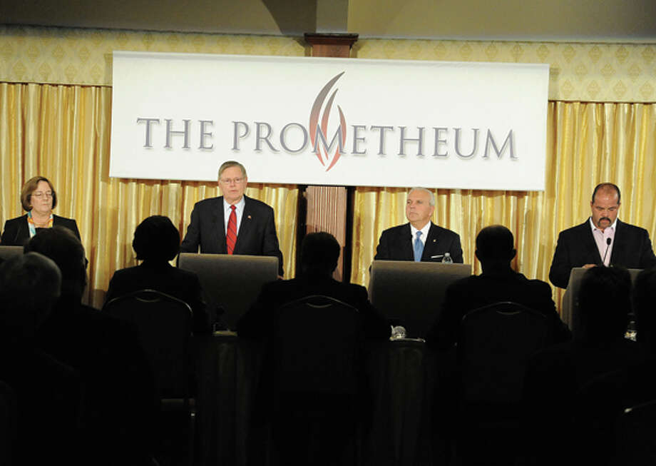 Promethium Debate at the Italian Center in Stamford of the four candidates running for mayor: Michael Fedele, David Martin, Kathleen Murphy and John Zito.