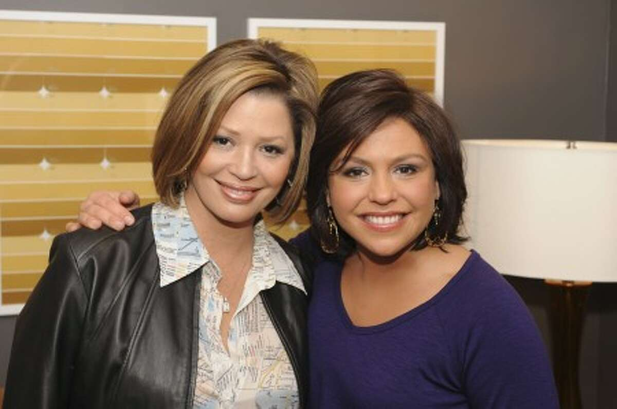 Rachael Ray, right, and Daisy Martinez in New York, Nov. 5, 2008. (AP Photo/The Rachael Ray Show, David M. Russell)