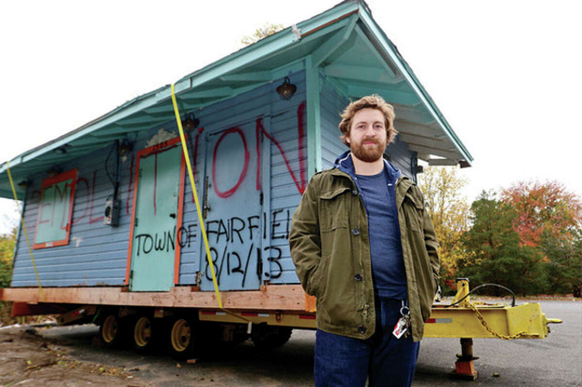 Hour photo / Erik Trautmann Hunter King owns the Southport Beach Shack otherwise known as King's Kitchen. After it was damged by Hurricane Sandy he bought the structure at auction and is looking for its new home.