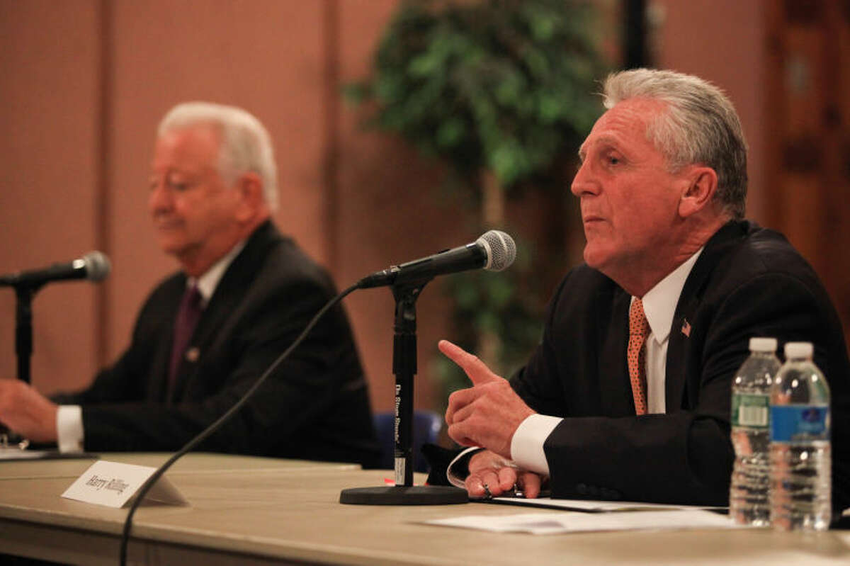 Hour Photo / Chris Palermo. Mayoral candidate Harry Rilling speaks at the Norwalk Mayoral Debate at City Hall Tuesday evening.