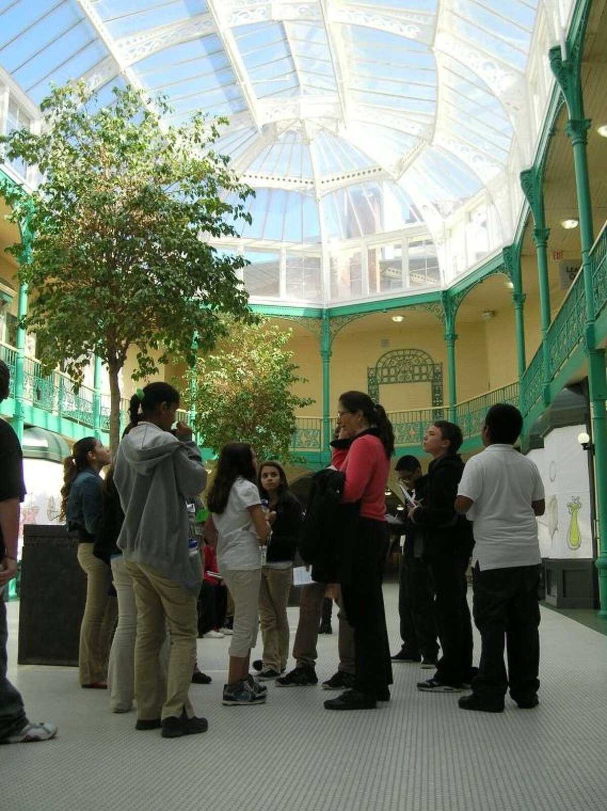 Peer Docents view the Arcade in Downtown Bridgeport