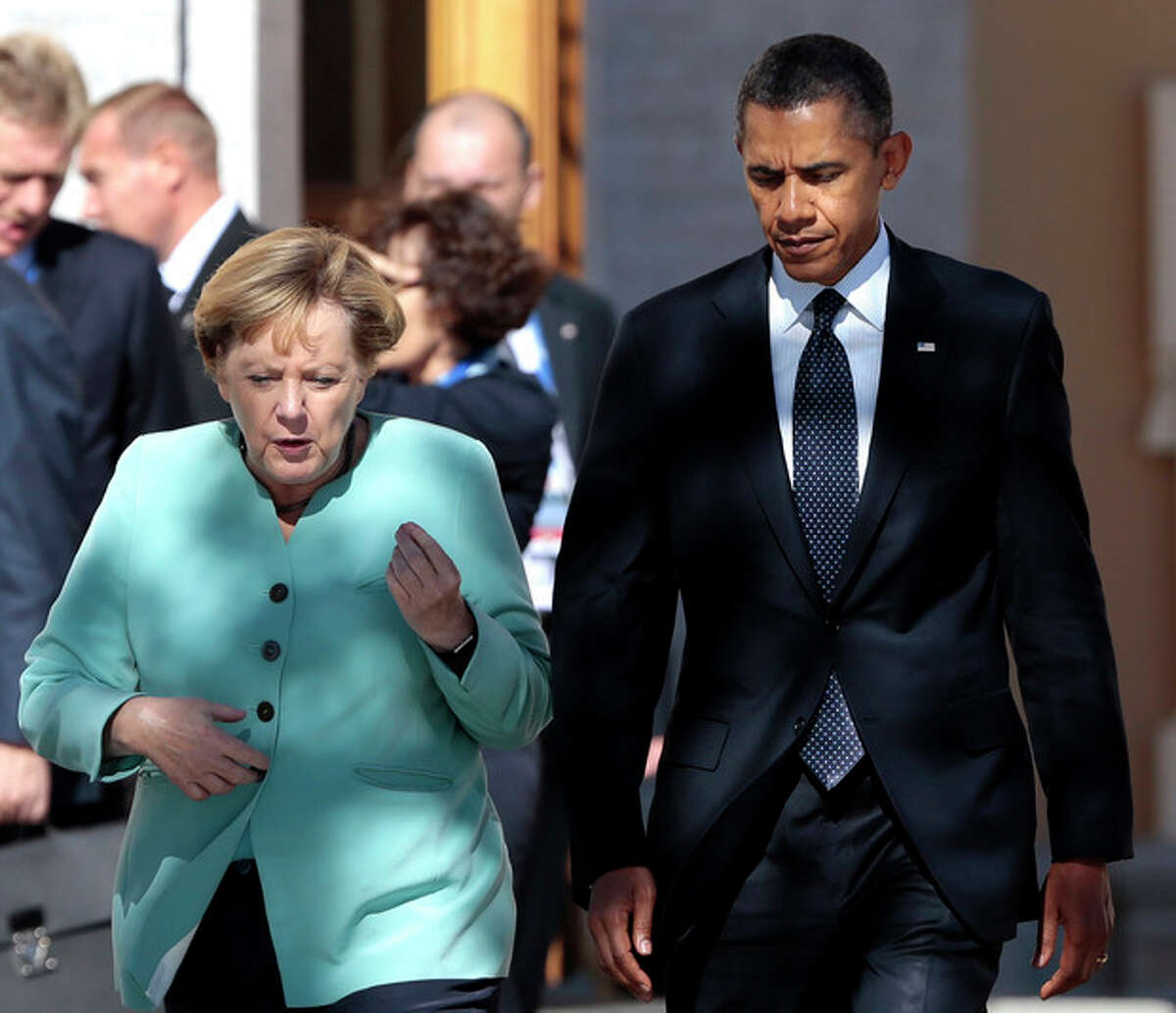 AP Photo/Ivan Sekretarev, File In this Sept. 6, file photo, President Barack Obama, right, walks with Germany's Chancellor Angela Merkel prior to a group photo of G-20 leaders outside of the Konstantin Palace in St. Petersburg, Russia.
