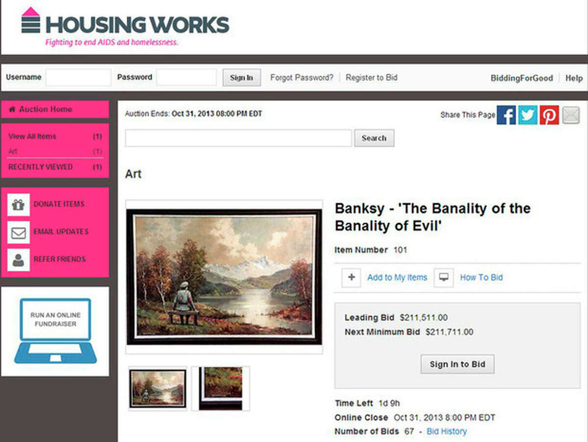 This Wednesday, Oct. 30, 2013 screen shot, made with permission from Housing Works, shows their website featuring a auction for a painting which includes an addition to the scene by the secretive British graffiti artist Banksy. After buying a painting of a pastoral scene for $50, Banksy donated it back to the Housing Works thrift shop in New York where he bought it?- but only after reworking it, adding a Nazi soldier to the scene. The 23rd Street Housing Works store is auctioning the painting. (AP Photo/Housing Works)