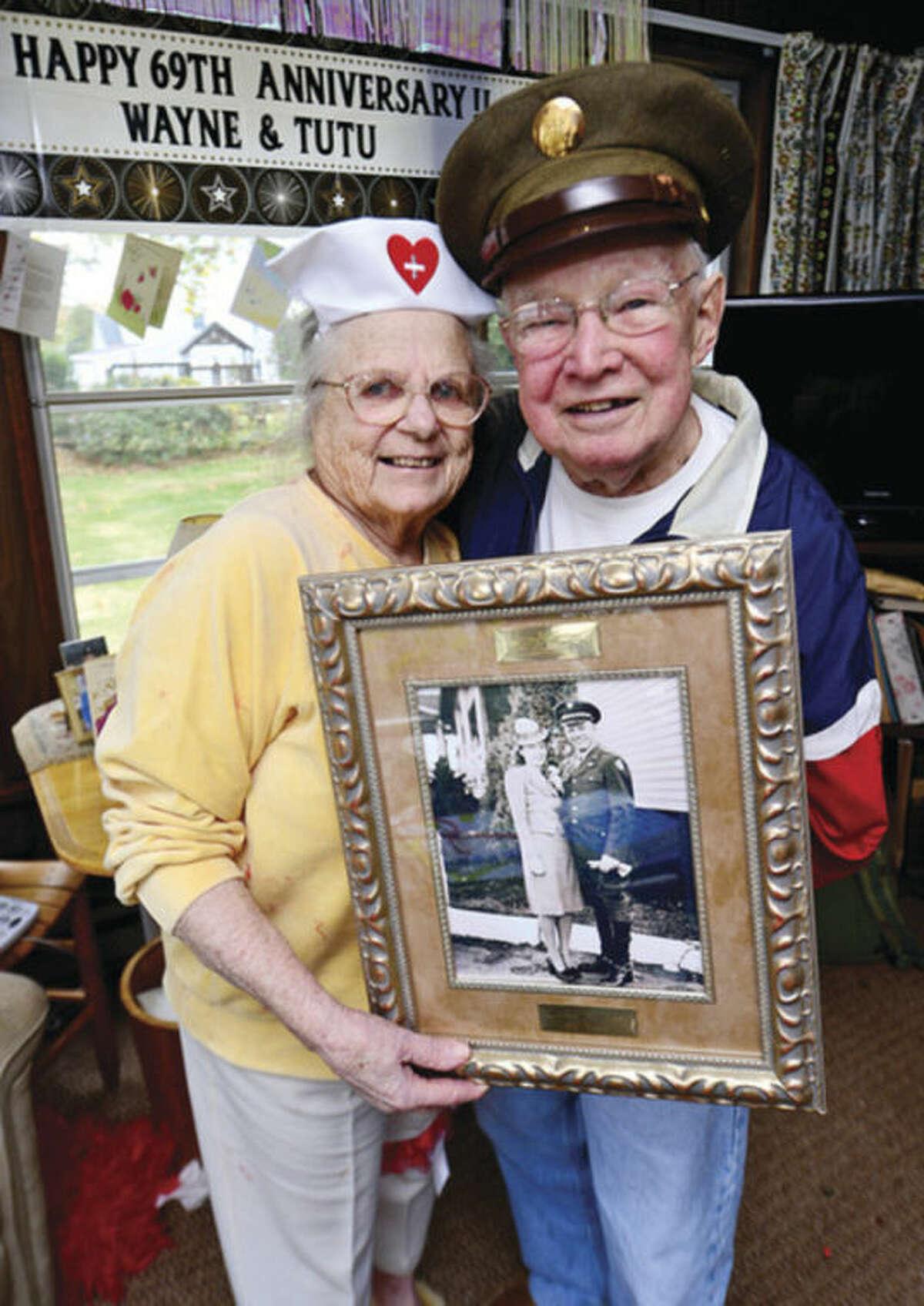 Hour photo / Erik Trautmann Mary and Wayne Shadbolt celebrate their 69th wedding anniversary on Halloween Thursday.