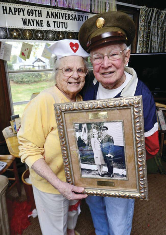 Hour photo / Erik TrautmannMary and Wayne Shadbolt celebrate their 69th wedding anniversary on Halloween Thursday.