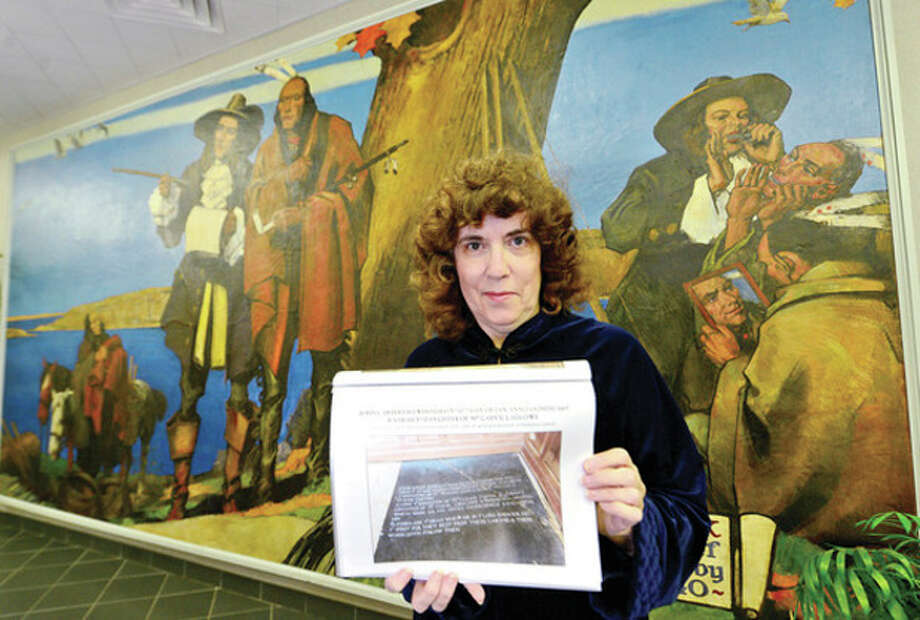 Hour photo / Erik TrautmannMadeleine Eckerts' ancestry goes back to Norwalk founder Roger Ludlowe who purchased the territory from Chief Mahackemo. / (C)2013, The Hour Newspapers, all rights reserved