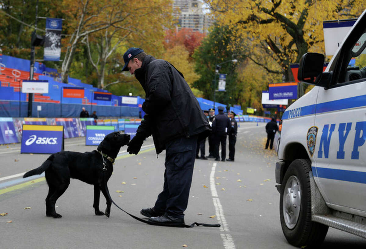 Heavy security including a bomb-sniffing dog are present near the finish line of the 2013 New York City Marathon in New York, Sunday, Nov. 3, 2013. The increased security at the marathon will be most evident near the finish line in Central Park. There will be barricades around the park to limit entry points, bag checks and bomb-sniffing dogs. (AP Photo/Seth Wenig)