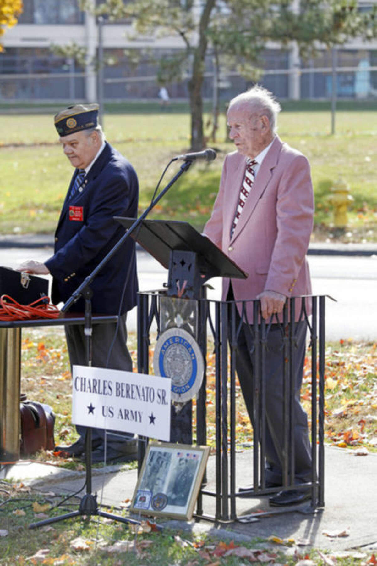 Frank Gallo speaks about Charles Berenato Sr. whom he served with at the American Legion Hall's Veteran of the Month ceremony Sunday morning. Hour Photo / Danielle Calloway