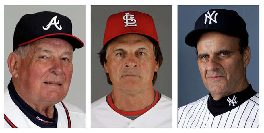 FILE - From left are Atlanta Braves manager Bobby Cox in 2010, St. Louis Cardinals manager Tony La Russa in 2011 and New York Yankees manager Joe Torre in 2007. Retired managers Cox, La Russa and Torre will join holdovers George Steinbrenner and Marvin Miller on the Hall of Fame expansion era committee ballot next month. (AP Photo/File) / AP