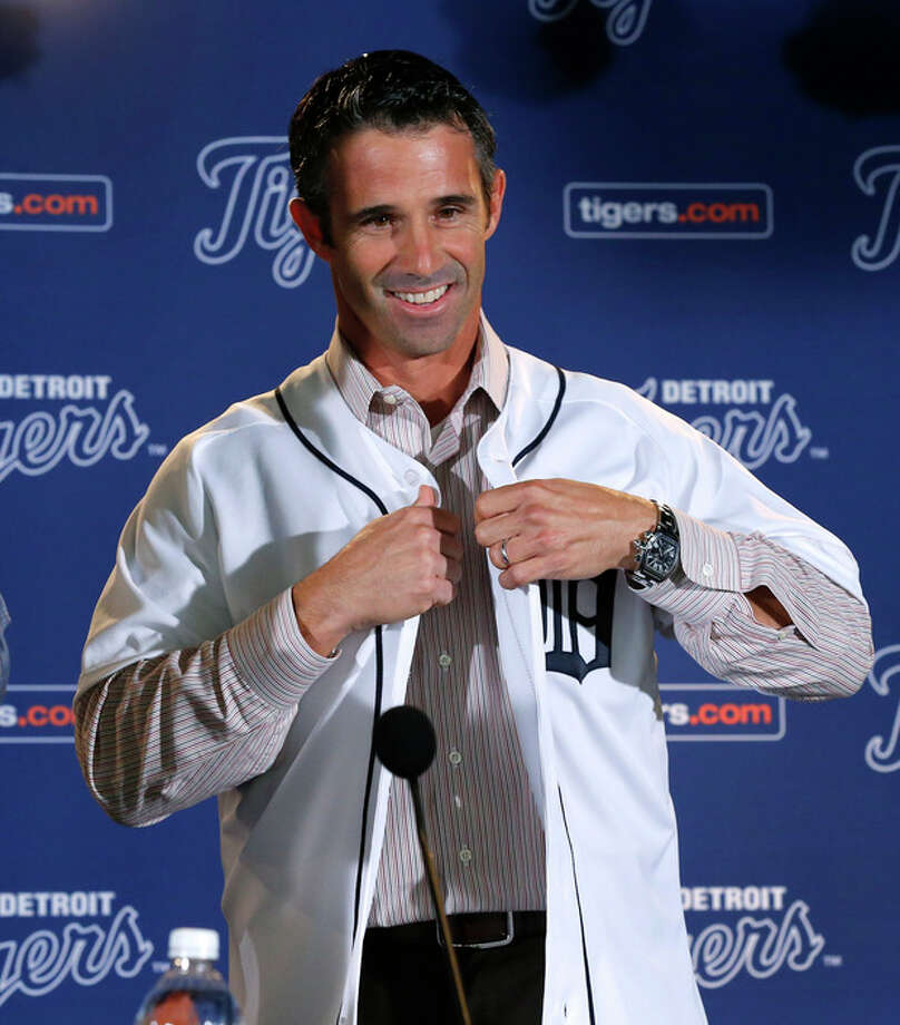 Brad Ausmus is introduced as the new Detroit Tigers manager during a news conference in Detroit Sunday, Nov. 3, 2013. Ausmus replaces Jim Leyland who stepped down as manager. AP Photo/Paul Sancya) / AP