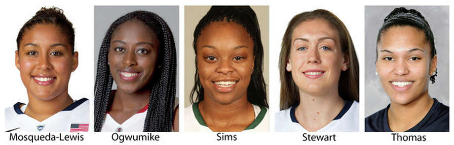 These 2013 photos provided by their respective schools show members of The Associated Press women's preseason All-America college basketball team released Tuesday, Nov. 5, 2013. From left are: Kaleena Mosqueda-Lewis, Connecticut; Chiney Ogwumike, Stanford; Odyssey Sims, Baylor; Breanna Stewart, Connecticut and Alyssa Thomas, Maryland. (AP Photo/ (AP Photo) / Respective Schools
