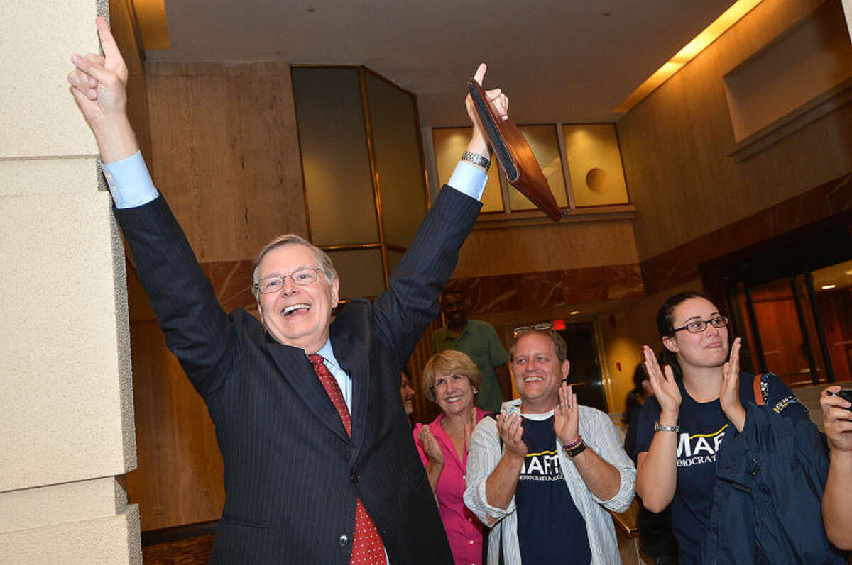 David Martin makes an entrance into The Stamford Mariott as the winner in the Democratic Primary.