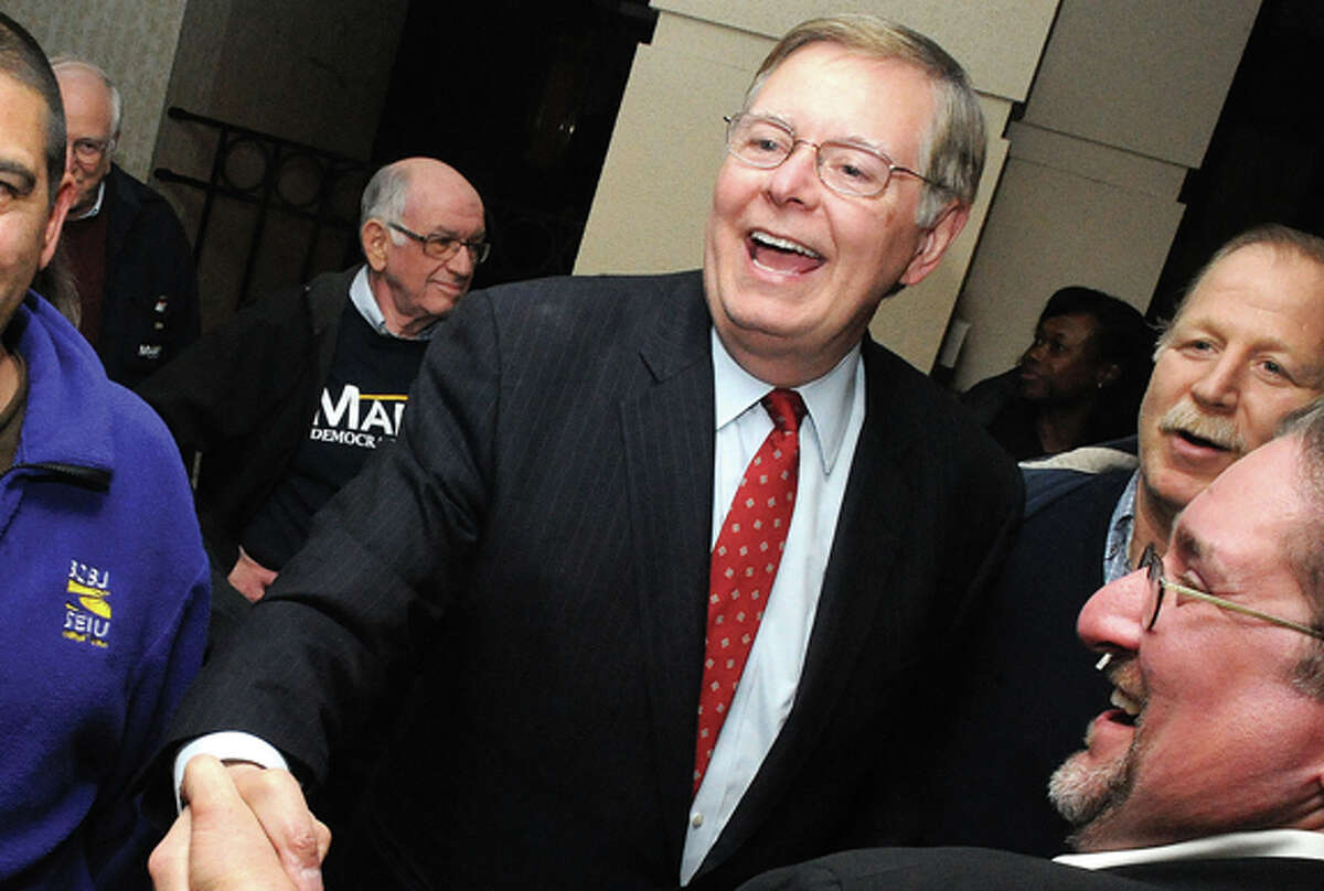 David Martin at the Stamford Marriott Hotel celebrating his win in the Stamford Mayoral race Tuesday. Hour photo/Matthew Vinci
