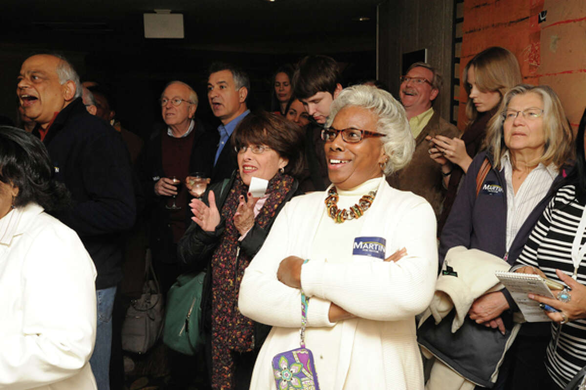 David Martin supporters celebrate his win Tuesday at the Stamford Marriott hotel. Tuesday. photo/Matthew Vinci