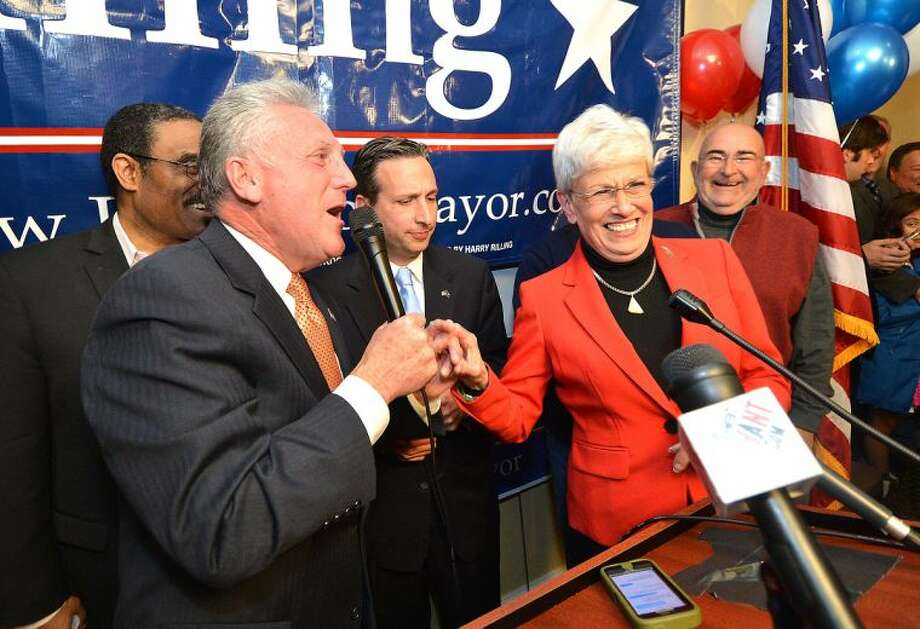 Hour Photo/Alex von Kleydorff . Harry Rilling celebrates his victory as Mayor Elect in Norwalk with Connecticut Lt. Governor Nancy Wyman