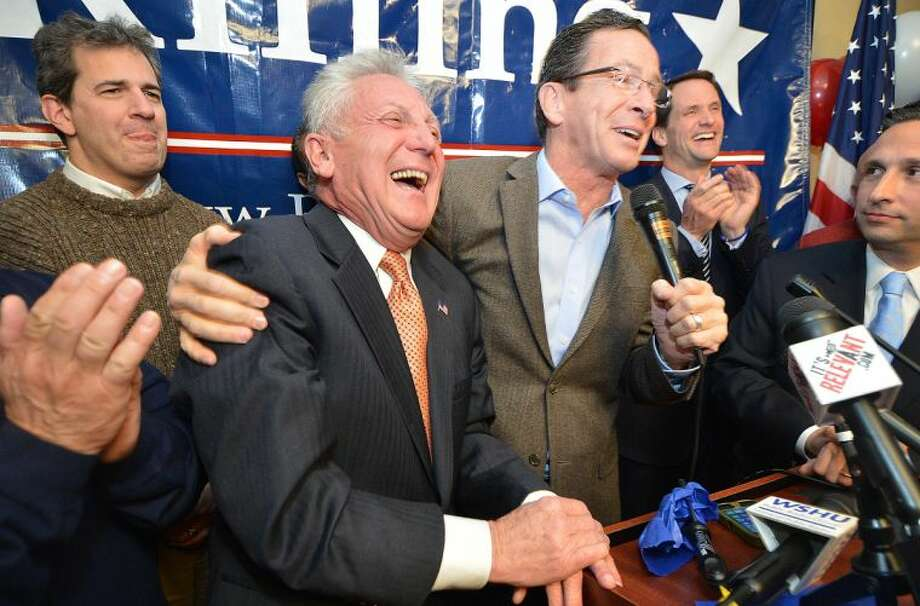Hour Photo/Alex von Kleydorff . Harry Rilling celebrates his victory as mayor Elect in Norwalk with Connecticut Governor Dan Malloy.