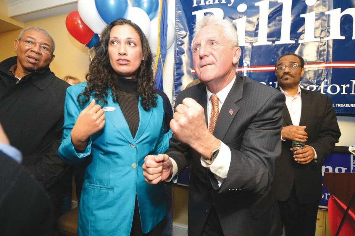 Hour Photo/Alex von Kleydorff. Harry Rilling hears results of other races and reacts after being elected Mayor