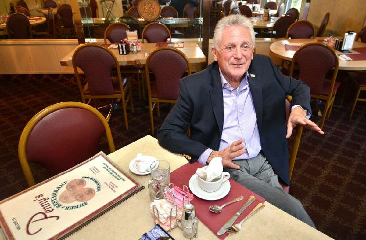 Hour Photo/Alex von Kleydorff . Mayor Elect Harry Rilling talks to The Hour at Penny's diner, the day after being elected.