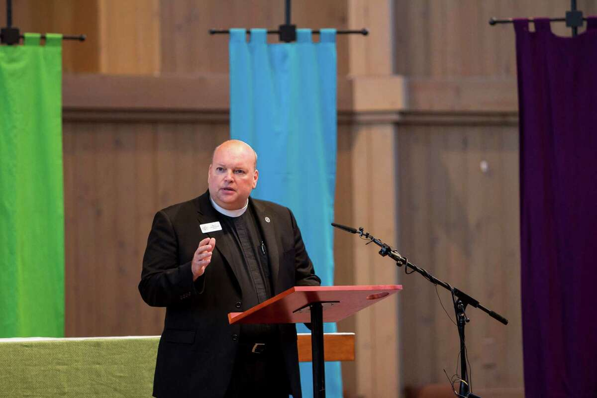 """The Very Rev. Steve Thomason, dean of St. Mark's Cathedral, which decries President Trump's immigration order and tells immigrants and refugees, """"We pledge circles of protection, which tell you are welcome."""""""