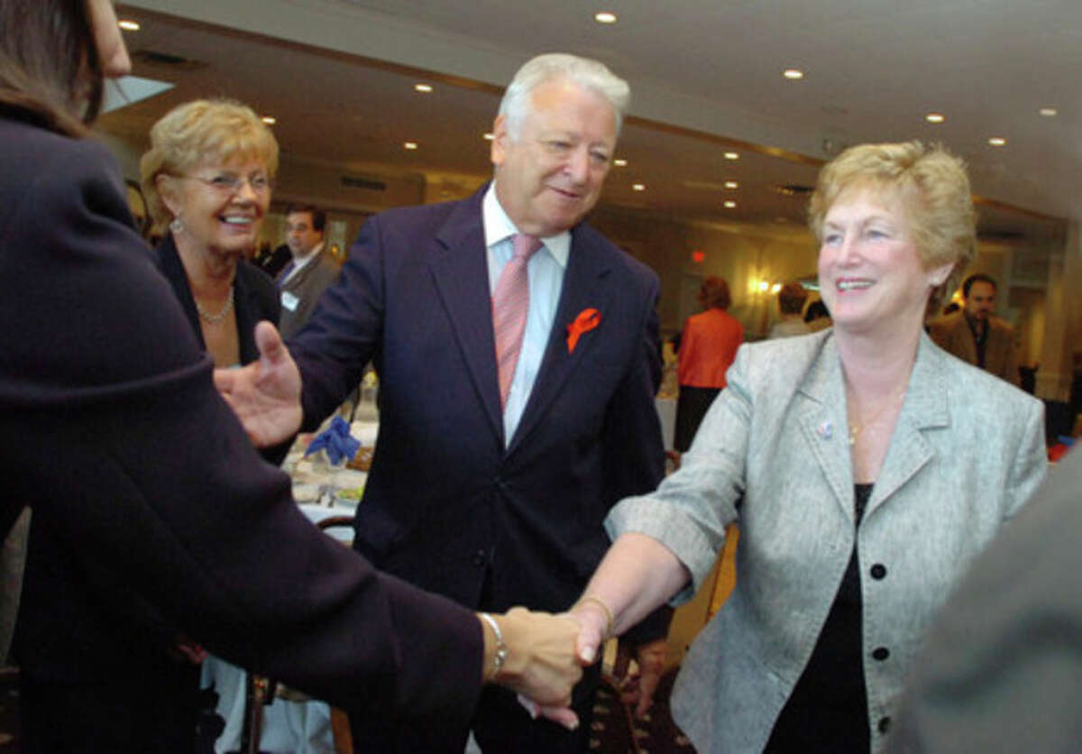 norwalk Mayor Richard Moccia introduces Governor Jodi Rell around the room at fund-raising luncheon at the Chatham Manor in Norwalk on Monday/hour photo matthew vinci