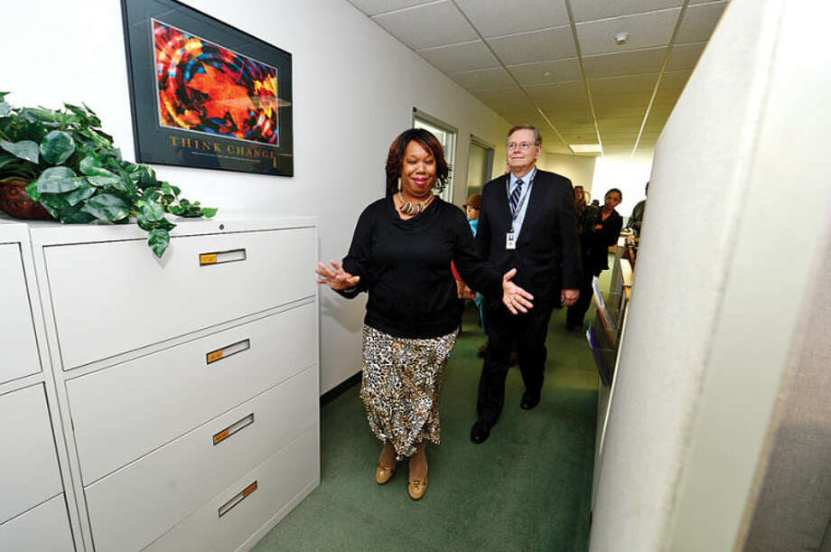 Hour photo / Erik Trautmann Mayor Elect David Martin tours the Stamford Government Center with Angie Murphy Office Support Specialist as he meets employees of the city.