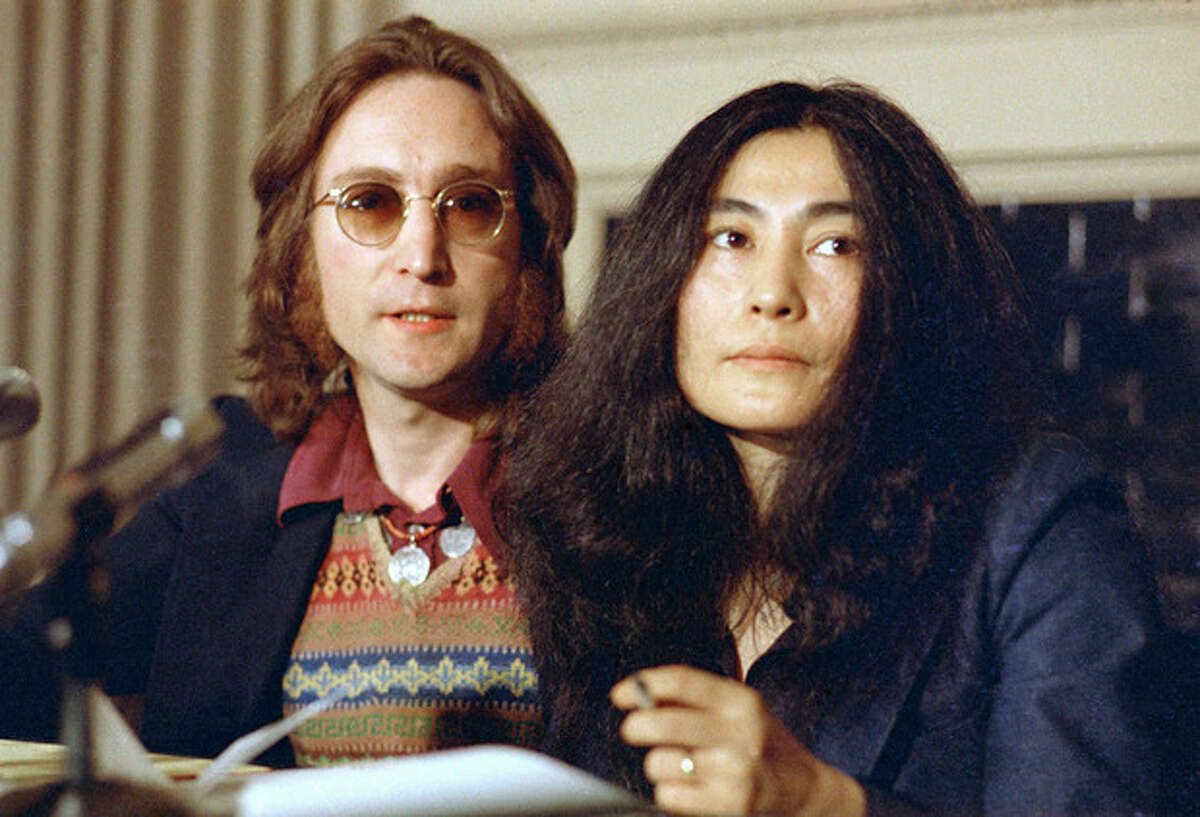 AP Photo, File In this April 2, 1973 file photo, John Lennon and his wife, Yoko Ono, speak at a news conference in New York. Six months before he died, Lennon set sail from Newport, R.I., on an ocean adventure to Bermuda that awakened his desire to make music again and is now being chronicled in an electronic format he could not have conceived of. A new app,