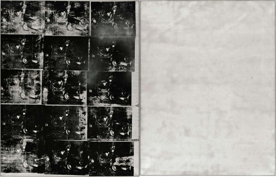 "FILE - This file photo provided by Sotheby's shows ""Silver Car Crash (Double Disaster)"" by Andy Warhol. The silkscreen print with multiple photos of the aftermath of a car which collided into a tree measures 8 feet by 13 feet and is part of Warhol's ""Death and Disaster"" series. The work, scheduled for auction at Sotheby's on Nov. 13, 2013, is expected to fetch as much as $80 million, which would establish a new record for the pop artist. (AP Photo/Sotheby's, File) / Sotheby's"